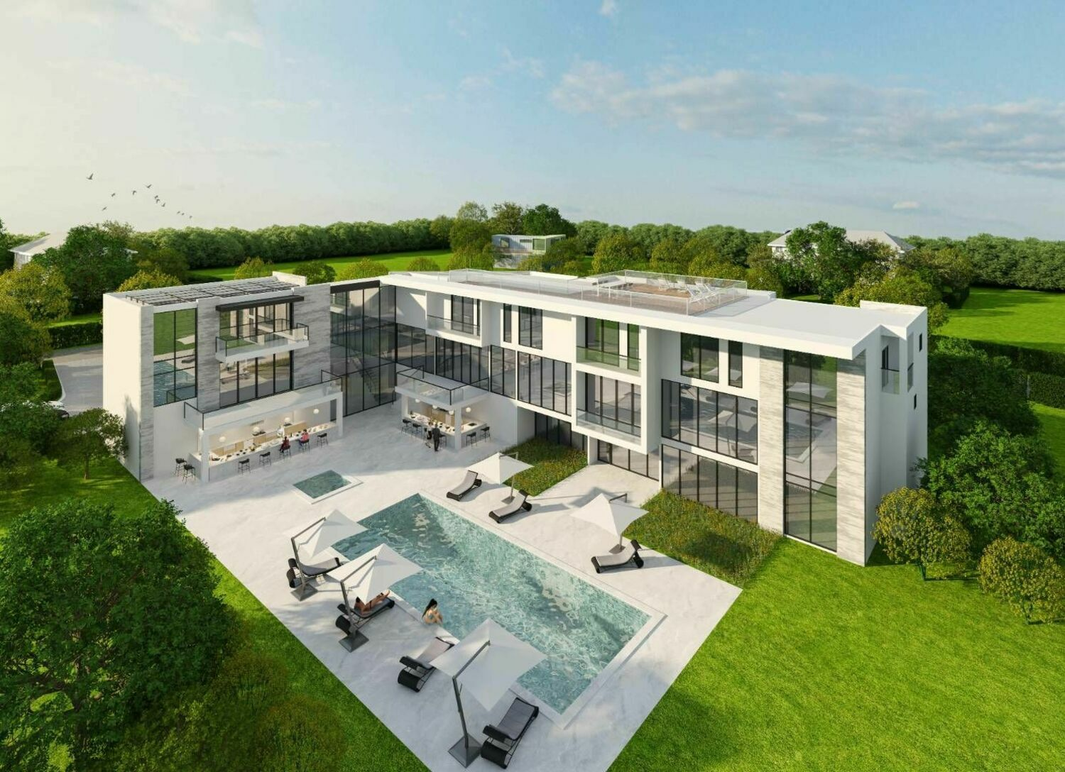 Aerial render of 88 Rose Way pool option