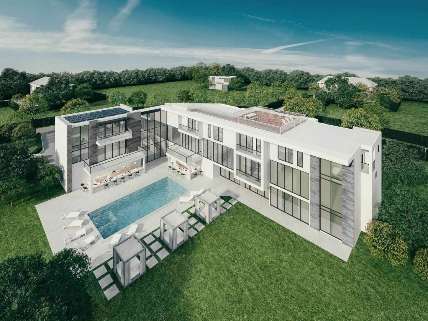 Aerial render of 88 Rose Way pool