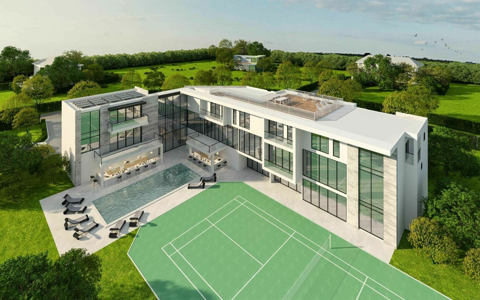 Aerial render of 88 Rose Way tennis court